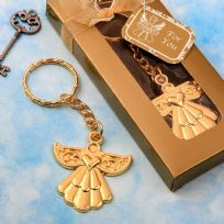 Angel Themed Gold Metal Key Ring